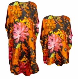 SOLD OUT! FINAL SALE! Beautiful Orange & Pink Watercolor Floral Print Poly/Satin Plus Size & Supersize Caftan Dress or Shirt 1x to 6x