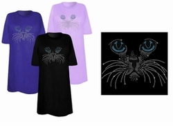 SOLD OUT! FINAL SALE! Big Blue Eyes Kitty Face Sparkly Rhinestuds Plus Size & Supersize T-Shirts 3x
