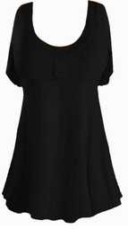 SALE! Plus Size Black Poly/Cotton Mock Button Babydoll Short Sleeve Tops 1x 2x 3x 4x 5x 6x 7x 8x