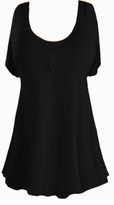 SALE! Black Cotton Lycra Mock Button Top Plus Size & Supersize Short Sleeve Top 1x 2x 3x 4x 5x 6x 7x 8x