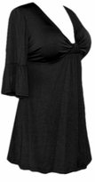 SALE! Black Cotton Lycra Sexy Low-Cut Plus Size & Supersize Flutter Sleeve Top 0x 1x 2x 3x 4x 5x 6x 7x 8x 9x