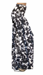 SOLD OUT! Black & Gray Abstract Floral Slinky Print Special Order Plus Size & Supersize Pants, Capri's, Palazzos