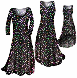 SOLD OUT!!!!!!!!!Black Multi Dots Slinky Print Plus Size & Supersize Standard or Cascading A-Line or Princess Cut Dresses 3x