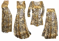 Black Ornate With Gold Metallic Slinky Print - Plus Size Slinky Dresses Shirts Jackets Pants Palazzo�s & Skirts - Sizes Lg to 9x