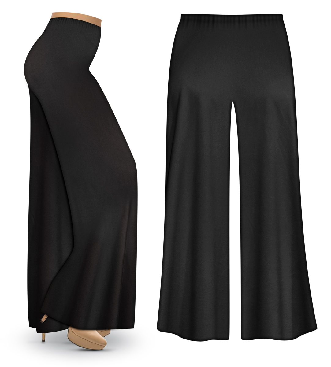 80e8165ca9a47 Black Wide Leg Plus Size Palazzo Pants with Elastic Waist ...