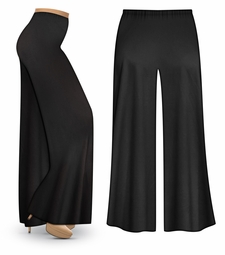 Black Wide Leg Plus Size Palazzo Pants with Elastic Waist, Customizable in Slinky, Cotton, or Velvet! XL 0x 1x 2x 3x 4x 5x 6x 7x 8x