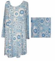 SOLD OUT!!!Blue Circles Sequins Plus Size & Supersize Extra Long Shirts 3x 4x 5x