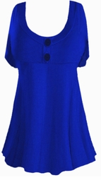 SALE! Plus Size Blue Poly/Cotton Mock Button Babydoll Short Sleeve Tops 1x 2x 3x 4x 5x 6x 7x 8x