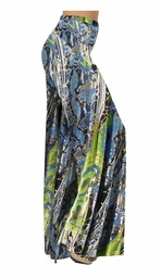 SOLD OUT!!!!! Blue & Green Snakeskin Print Slinky Print Special Order Customizable Plus Size & Supersize Pants, Capri's, Palazzos or Skirts! Lg to 9x