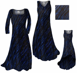 CLEARANCE! Blue Streaks Glimmer Slinky Print Plus Size Princess Cut Top 0x