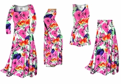 SOLD OUT! Bright Pink & Orange Bellflowers Floral Slinky Print - Plus Size Slinky Dresses Shirts Jackets Pants Palazzo�s & Skirts - Sizes Lg to 9x