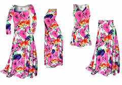 Bright Pink & Orange Bellflowers Floral Slinky Print - Plus Size Slinky Dresses Shirts Jackets Pants Palazzo�s & Skirts - Sizes Lg to 9x