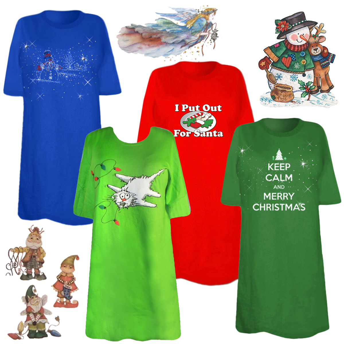 5a8735f3cdc CLEARANCE! Christmas Print THREE T-SHIRT BUNDLE! Assorted Colors   Designs Plus  Size   Supersize 5x
