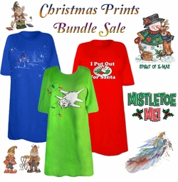 SOLD OUT! FINAL SALE! CLEARANCE! Christmas Print THREE T-SHIRT BUNDLE! Assorted Colors & Designs Plus Size & Supersize 5x