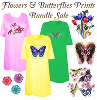 SOLD OUT! CLEARANCE! Flowers & Butterflies Print THREE T-SHIRT BUNDLE! Assorted Colors & Designs Plus Size & Supersize 4XL