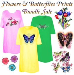CLEARANCE! Flowers & Butterflies Print THREE T-SHIRT BUNDLE! Assorted Colors & Designs Plus Size & Supersize 4XL 1x 2x