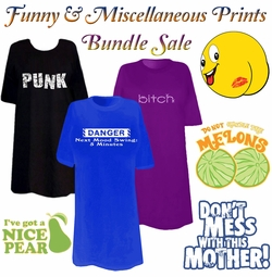 FINAL CLEARANCE SALE! Funny & Miscellaneous Print THREE T-SHIRT BUNDLE! Assorted Colors & Designs Plus Size & Supersize  2XL