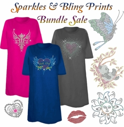 FINAL CLEARANCE SALE! Sparkles & Bling Print THREE T-SHIRT BUNDLE! Assorted Colors & Designs Plus Size & Supersize XL