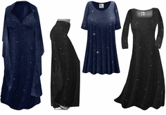 Black or Navy With Glittery Silver Dots Slinky Print - Plus Size Slinky Dresses Shirts Jackets Pants Palazzo�s & Skirts - Sizes Lg to 9x