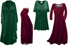 Green or Burgundy With Glittery Gold Dots Slinky Print - Plus Size Slinky Dresses Shirts Jackets Pants Palazzo�s & Skirts - Sizes Lg to 9x