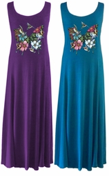 Butterflies & Hummingbirds! Purples & Blues Princess Cut Poly Cotton Plus Size & Supersize Dresses 0x 1x 2x 3x 4x 5x 6x 7x 8x