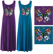 CLEARANCE! Butterflies & Hummingbirds! Turquoise Princess Cut Plus Size & Supersize Tank Dresses 4x