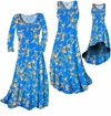SOLD OUT! CLEARANCE! Cerulean Blue With Oriental Lily Slinky Print Plus Size A-Line Dresses 0x