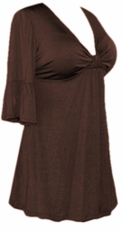 SALE! Chocolate Brown Cotton Lycra Sexy Low-Cut Plus Size & Supersize Flutter Sleeve Top 0x 1x 2x 3x 4x 5x 6x 7x 8x 9x