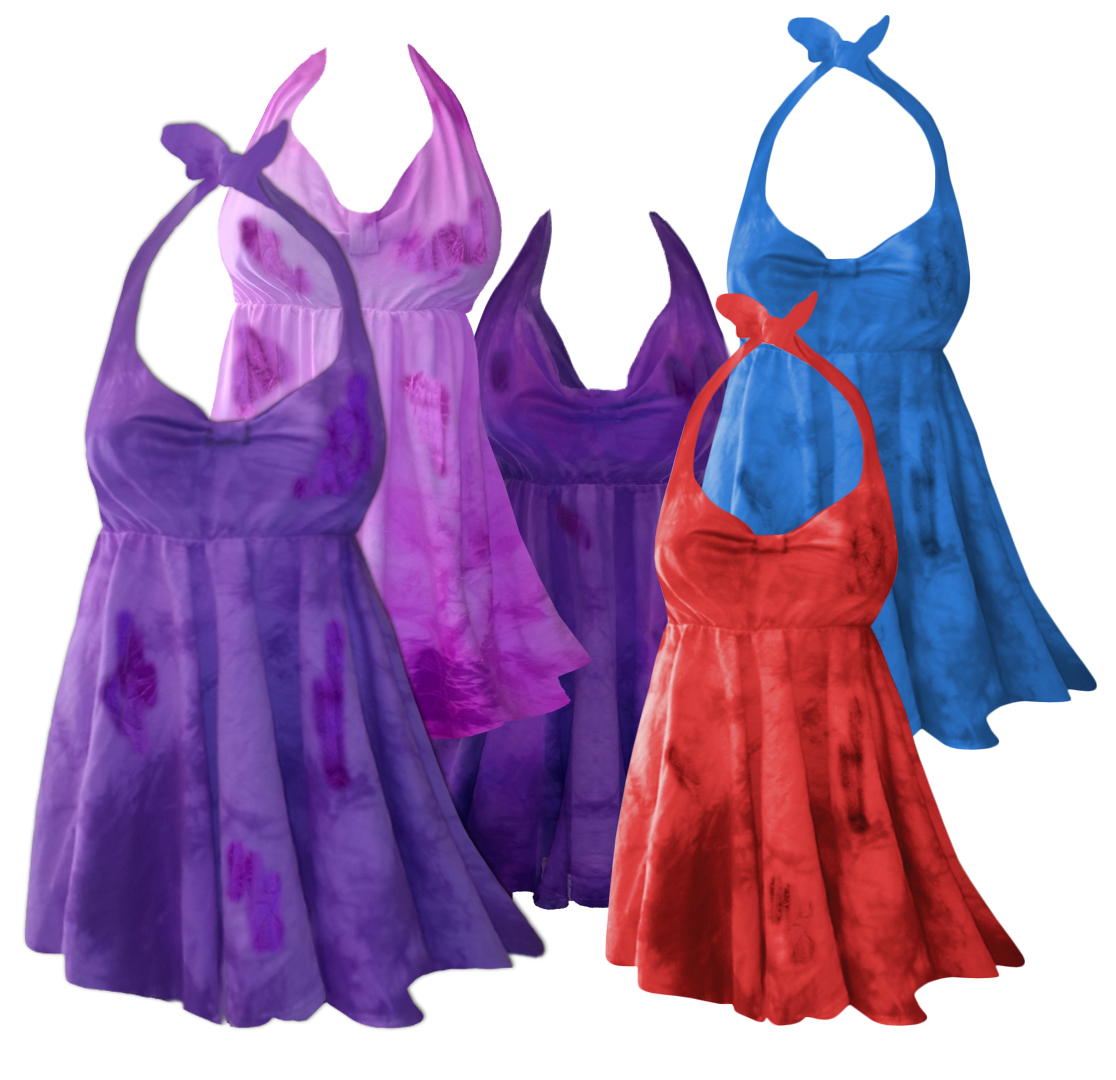 55aed4ebca2 CLEARANCE! 2-Piece Purple Pink Blue Red or Green Tie Dye Plus Size &  SuperSize Halter Swimsuit SwimDress 0x 1x