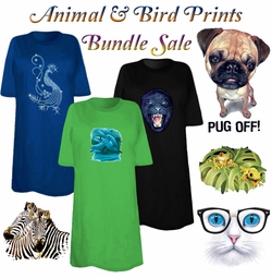 FINAL CLEARANCE SALE! Animal & Birds Print THREE T-SHIRT BUNDLE! Assorted Colors & Designs Plus Size & Supersize  XL 2XL