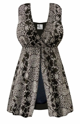 SOLD OUT! CLEARANCE! Black & Gray Damask Print One-Piece Swimsuit with Flyaway Front Plus Size & SuperSize 2x