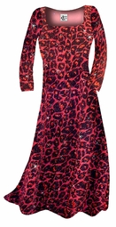 CLEARANCE! Black w/ Ruby Leopard Glitter Slinky Print Plus Size & Supersize A-Line Shirts 2x