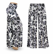CLEARANCE! Black & White Floral With Sparkles Slinky Print Plus Size & Supersize Palazzo Pants 3x