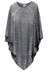 SOLD OUT! CLEARANCE! Black with Silver Glimmer Lines Plus Size and Supersize Poncho