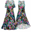 SOLD OUT! Black With Tropical Flowers Slinky Print Plus Size & Supersize Dress