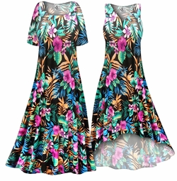 CLEARANCE! Black With Tropical Flowers Slinky Print Plus Size & Supersize Dress LG 1x