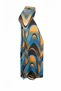 CLEARANCE! Blue And Orange Zig Zag Swirls Slinky Print Plus Size & Supersize Palazzo Pants XL 0x 4x