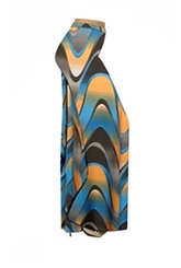 FINAL CLEARANCE SALE! Blue And Orange Zig Zag Swirls Slinky Print Plus Size & Supersize Palazzo Pants XL
