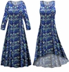 FINAL CLEARANCE SALE! Plus Size Blue Floral Slinky Print Dress LG