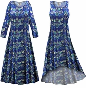CLEARANCE! Plus Size Blue Floral Slinky Print Dress LG XL
