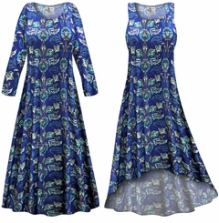 CLEARANCE! Blue Floral Slinky Print Plus Size & Supersize Dress LG XL 1x 3x