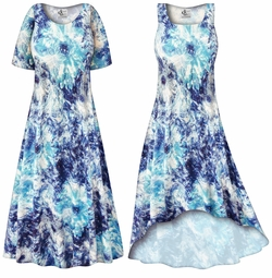SOLD OUT! CLEARANCE! Blue Floral With Silver Sparkles Slinky Print Plus Size & Supersize Dress 7x