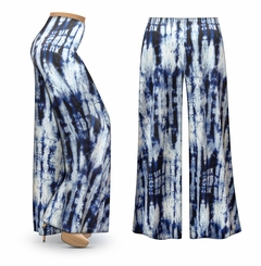 SOLD OUT! CLEARANCE! Blue & White Tie Dye Slinky Print Plus Size & Supersize Palazzo Pants XL 0x
