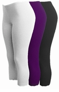 SOLD OUT! CLEARANCE! Brown - Purple - Black or White Lace Bottom Capri Plus Size Leggings 2x