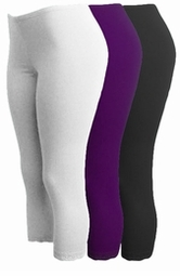 CLEARANCE! Brown - Purple - Black or White Lace Bottom Capri Plus Size Leggings 2x