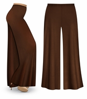 CLEARANCE! Brown Wide Leg Palazzo Pants in Slinky, Velvet or Cotton Fabric - Plus Size & Supersize 3x