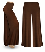 SOLD OUT! CLEARANCE! Brown Wide Leg Palazzo Pants in Slinky, Velvet or Cotton Fabric - Plus Size & Supersize 3x