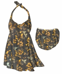 CLEARANCE! Plus Size Brown With Marigold Flowers & Leaves Halter or Straps Style Swimsuit / SwimDress 0x 1x