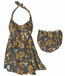 CLEARANCE! Plus Size Brown With Marigold Flowers & Leaves Halter or Straps Style Swimsuit / SwimDress 0x 1x 2x