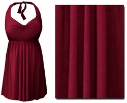 CLEARANCE! Plus Size Burgundy 2PC Halter Style Swimsuit/Swimdress 1x